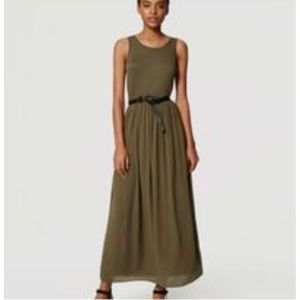 LOFT Sleeveless Olive Green Maxi Dress